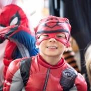 Kid dressed up as a super hero